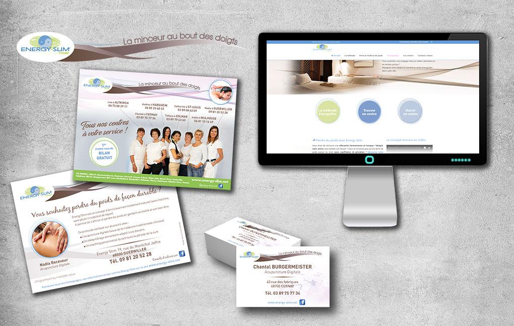 Logo et identité visuelle déclinés sur supports papiers et site internet pour Energy-Slim