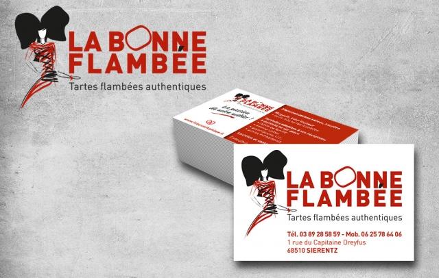 Logo et identité graphique La Bonne Flambée, adapation sur cartes de visite