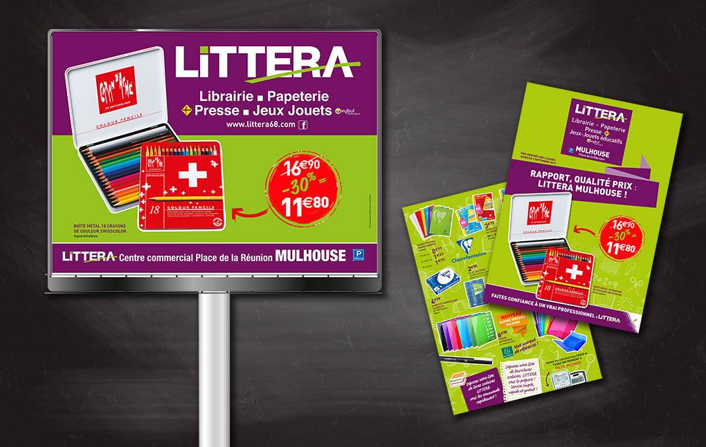 Catalogues et affiches pour l'affichage urbain. Librairies Littera