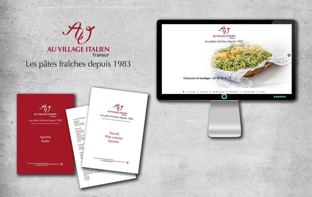 Menus pour le restaurant Au Village Italien et design de son site internet
