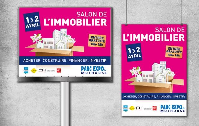 Affiches pour l'affichage urbain en 4 par 3 et arrêts de bus. Salon de l'immobilier.